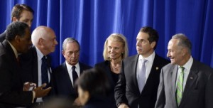 IBM Chairman and CEO Ginni Rometty, joins New York Governor Andrew Cuomo, NYC Mayor Michael Bloomberg and Senator Charles Schumer at President Obama's visit to the Pathways in Technology Early College High School (P-TECH) in Brooklyn, N.Y. on October 25, 2013.